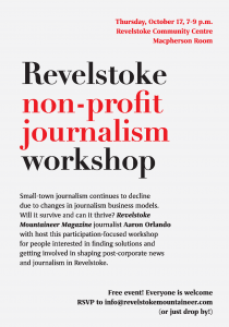 Revelstoke non-profit journalism workshop @ Revelstoke Community Centre, Macpherson Rm