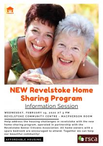 NEW Revelstoke Home Sharing Program - Information Session @ Revelstoke Community Centre - Macpherson Room